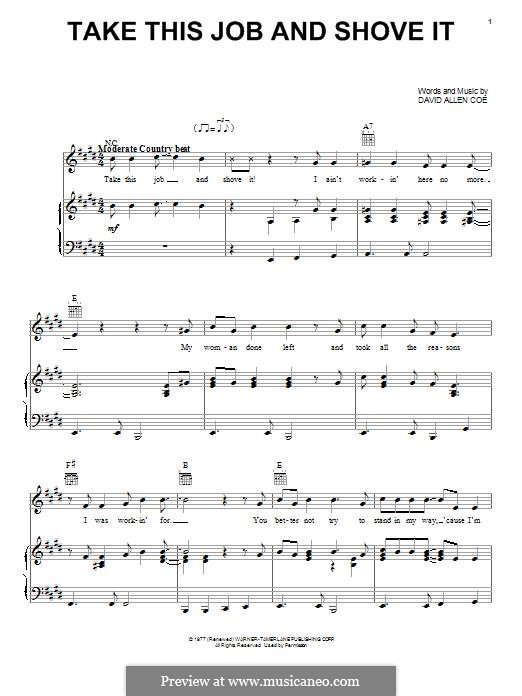 Take This Job and Shove It: For voice and piano (or guitar) by David Allen Coe