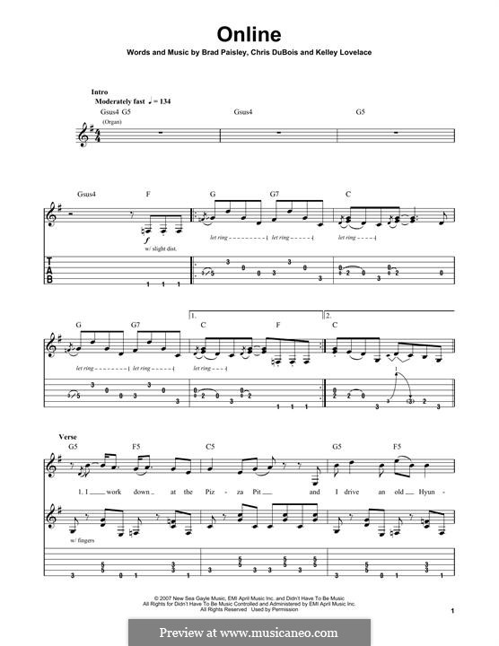 Online: For guitar with tab by Brad Paisley, Chris DuBois, Kelley Lovelace