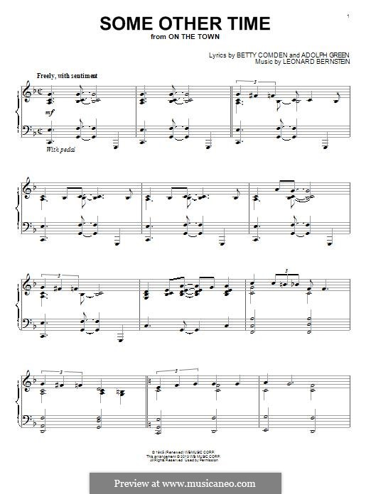 Some Other Time (from On The Town) : For piano by Leonard Bernstein