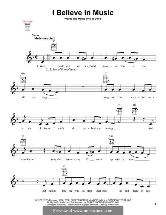 I Believe in Music (Gallery): For ukulele by Mac Davis