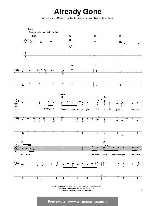 Already Gone (Eagles): For bass guitar with tab by Jack Tempchin, Robb Strandlund