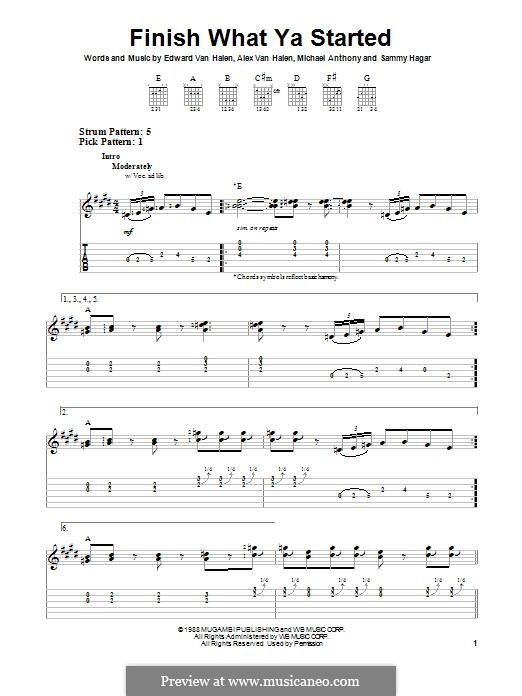 Finish What Ya Started (Van Halen): For guitar with tab by Alex Van Halen, Edward Van Halen, Michael Anthony, Sammy Hagar