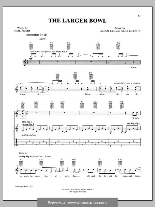 The Larger Bowl (Rush): For guitar with tab by Alex Lifeson, Geddy Lee