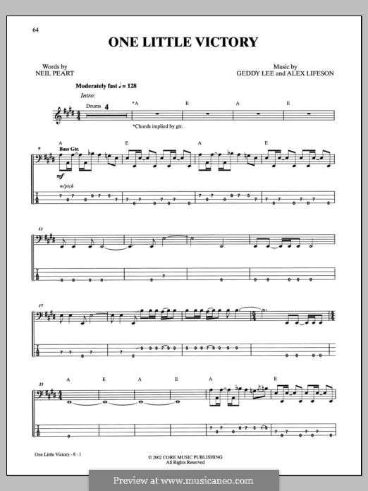 One Little Victory (Rush): For bass guitar with tab by Alex Lifeson, Geddy Lee