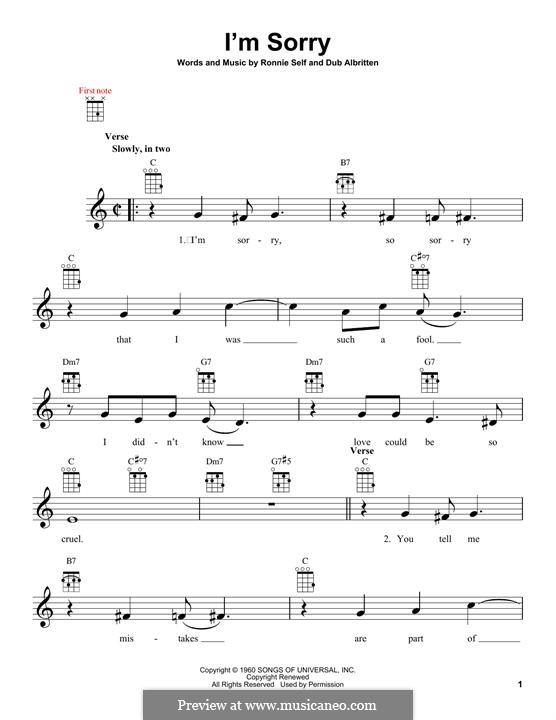 I'm Sorry (Brenda Lee): For ukulele by Dub Albritten, Ronnie Self