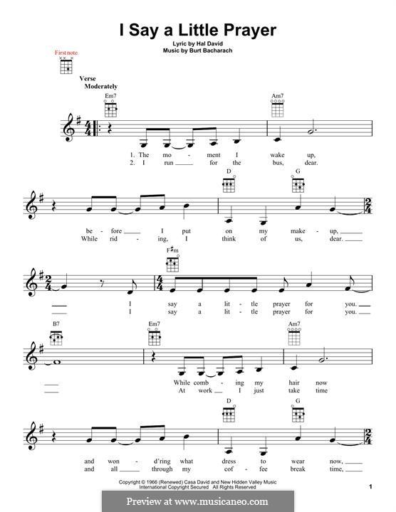 I Say a Little Prayer: For ukulele (Dionne Warwick) by Burt Bacharach