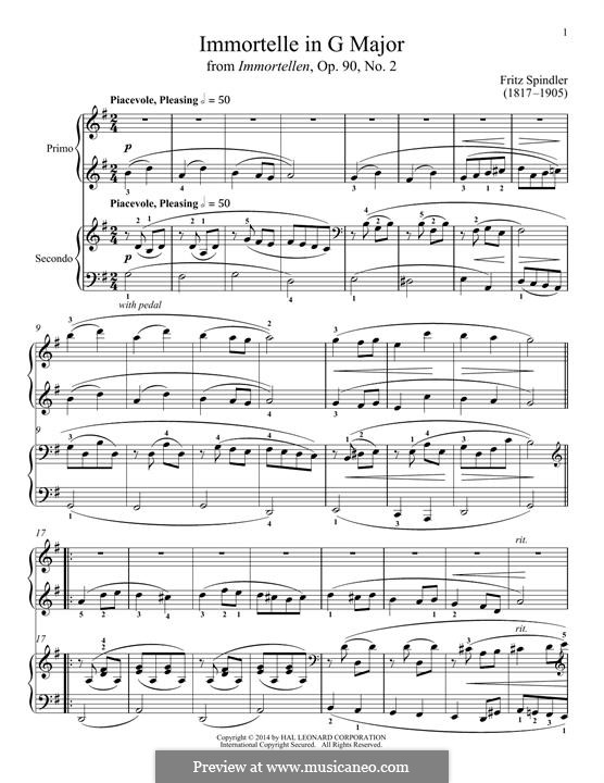 Immortelle in G Major: For piano by Fritz Spindler