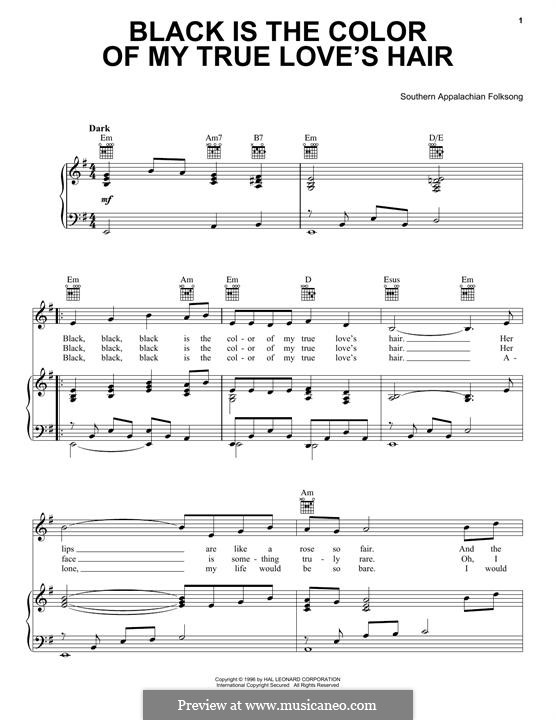 Black is the Color of My True Love's Hair: For voice and piano by folklore