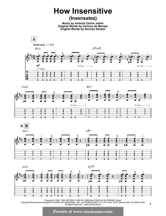 How Insensitive (Insensatez): For guitar with tab by Antonio Carlos Jobim