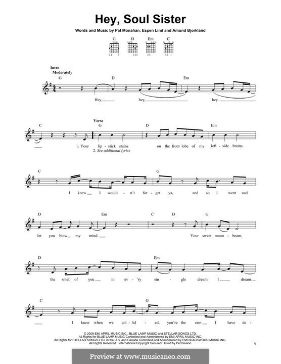 Hey, Soul Sister (Train): For guitar with tab by Amund Bjorklund, Espen Lind, Patrick Monahan