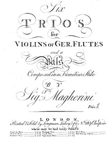 Six Trios for Violins (or Flutes) and Basso Continuo: Violin or flute II part by Giuseppe Maria Magherini