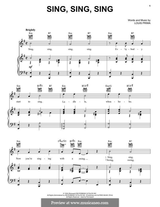 Sing, Sing, Sing (Benny Goodman): For voice and piano by Louis Prima
