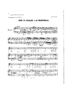 Psalms: Psalm No.15, piano-vocal score by Benedetto Marcello
