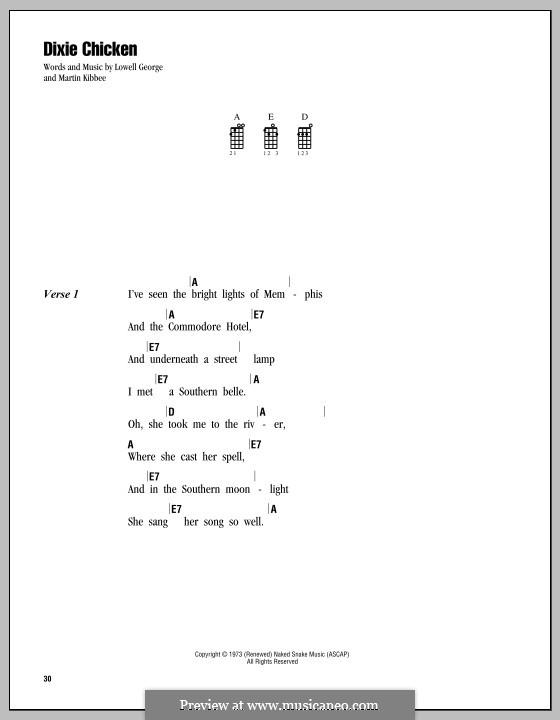 Dixie Chicken (Little Feat): For ukulele by Lowell George, Martin Kibbee
