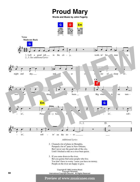 Proud Mary (Creedence Clearwater Revival): Melody line by John C. Fogerty