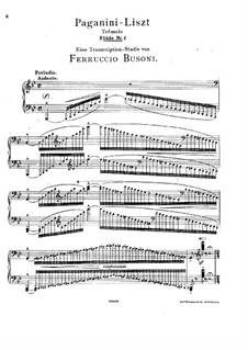 Grand Etudes de Paganini, S.141: No.1 in G Minor (Edited by Busoni) by Franz Liszt