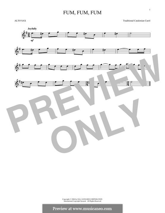 Fum, Fum, Fum: For alto saxophone by folklore