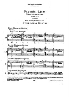 Grand Etudes de Paganini, S.141: No.6 in A Minor (with version by Busoni) by Franz Liszt