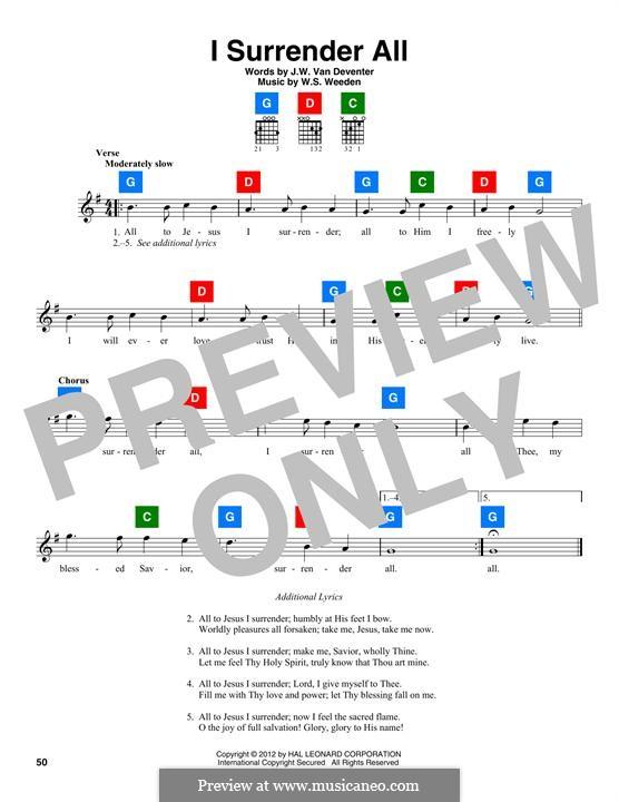 I Surrender All: Melody line by Winfield Scott Weeden