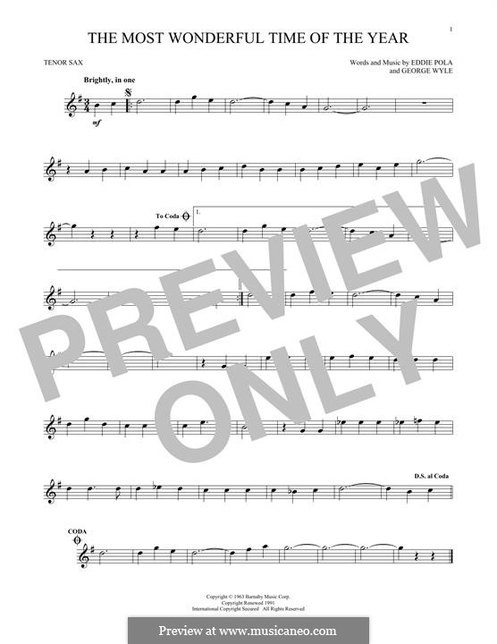 The Most Wonderful Time of the Year: For tenor saxophone by George Wyle, Edward Pola