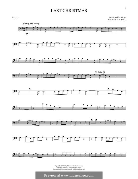Last Christmas (Wham!): For cello by George Michael