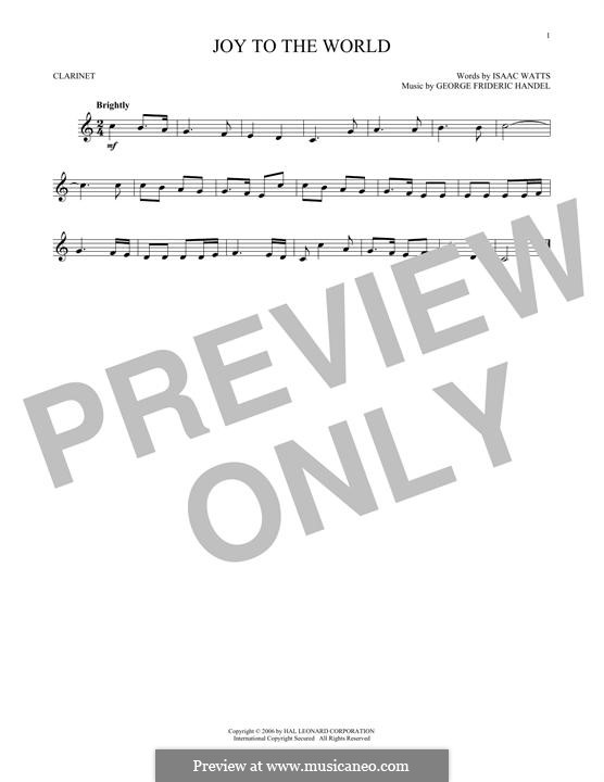 Joy to the World (Printable Scores): For clarinet by Georg Friedrich Händel
