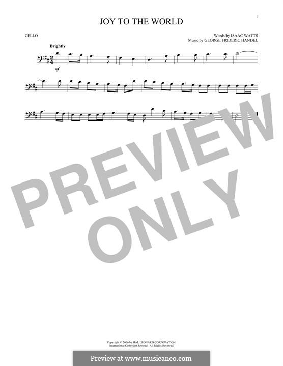Joy to the World (Printable Scores): For cello by Georg Friedrich Händel