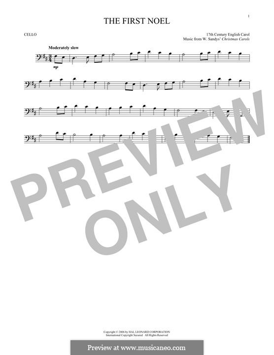 The First Nowell (The First Noël), Printable scores: For cello by folklore