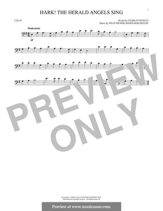 Hark! The Herald Angels Sing, for Solo Instrument: For cello by Felix Mendelssohn-Bartholdy