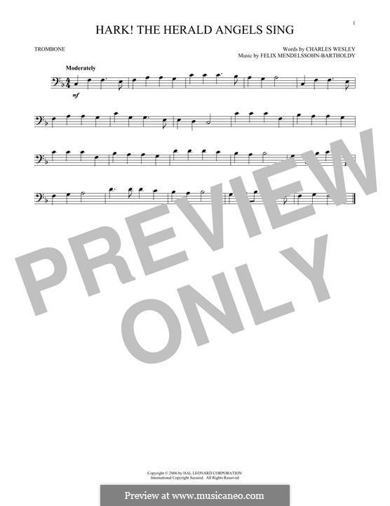 Hark! The Herald Angels Sing, for Solo Instrument: For trombone by Felix Mendelssohn-Bartholdy