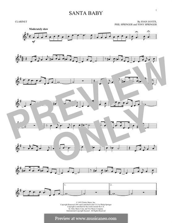 Santa Baby (Eartha Kitt): For clarinet by Joan Javits, Philip Springer, Tony Springer