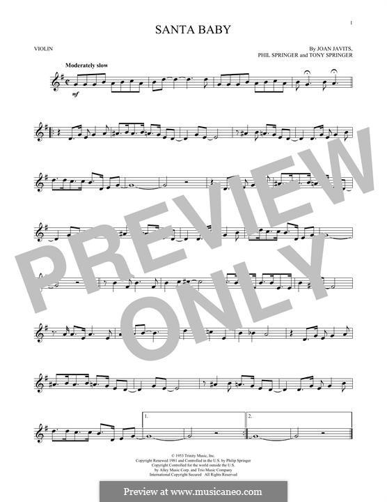 Santa Baby (Eartha Kitt): For violin by Joan Javits, Philip Springer, Tony Springer