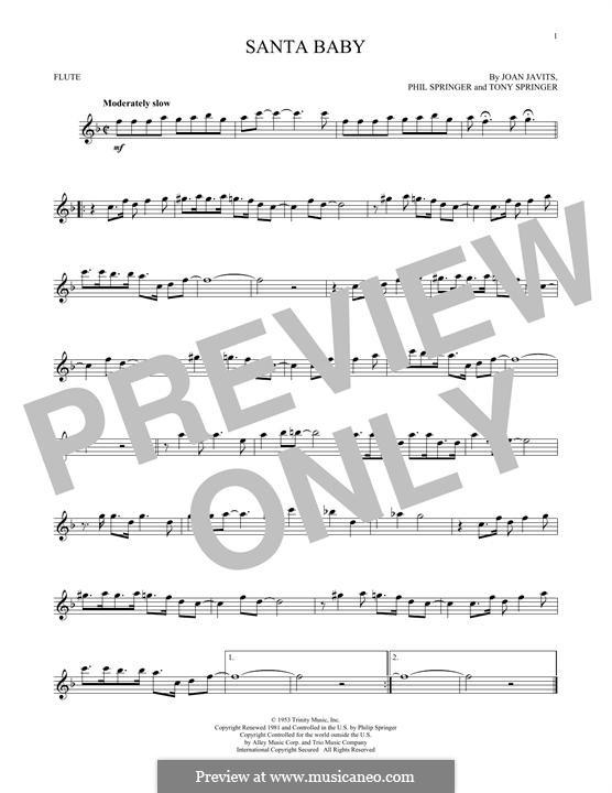 Santa Baby (Eartha Kitt): For flute by Joan Javits, Philip Springer, Tony Springer