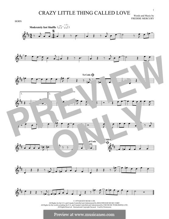 Crazy Little Thing Called Love (Queen): For horn by Freddie Mercury