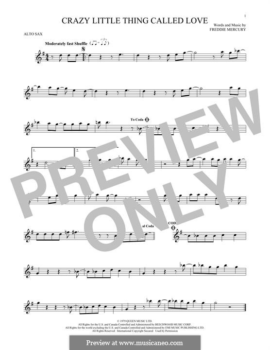 Crazy Little Thing Called Love (Queen): For alto saxophone by Freddie Mercury
