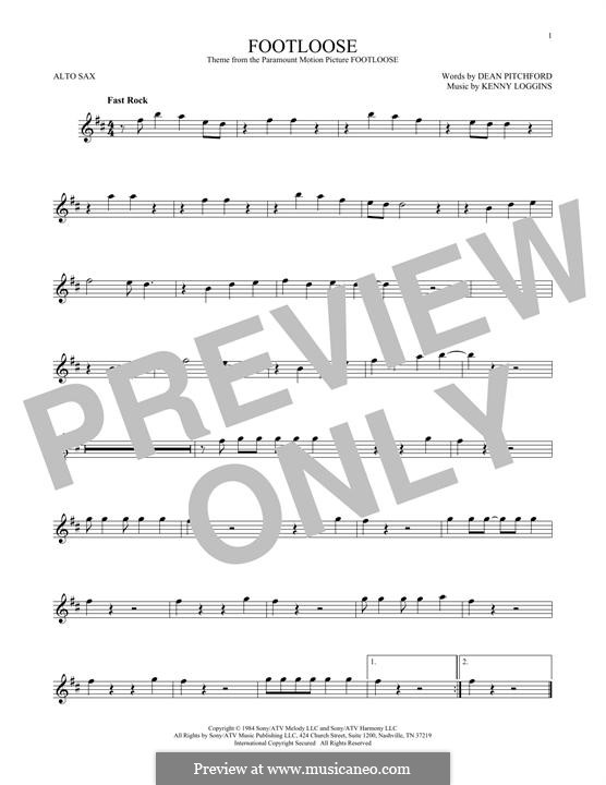 Footloose: For alto saxophone by Kenny Loggins