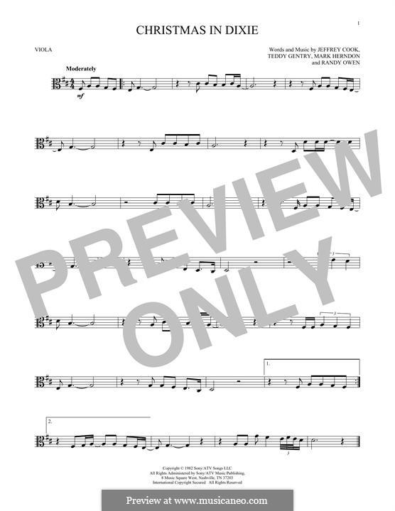 Christmas in Dixie (Alabama): For viola by Jeffrey Cook, Mark Herndon, Randy Owen, Teddy Gentry