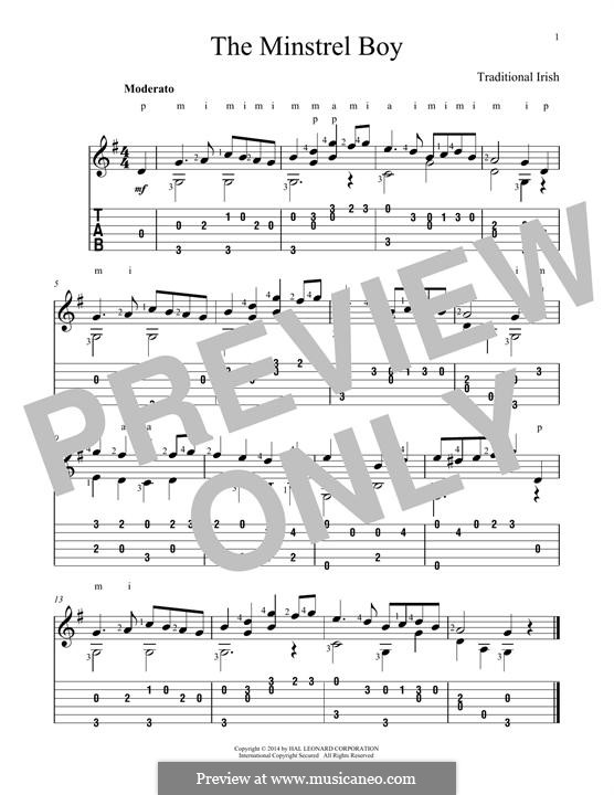 The Minstrel Boy (The Moreen): For guitar with tab by folklore