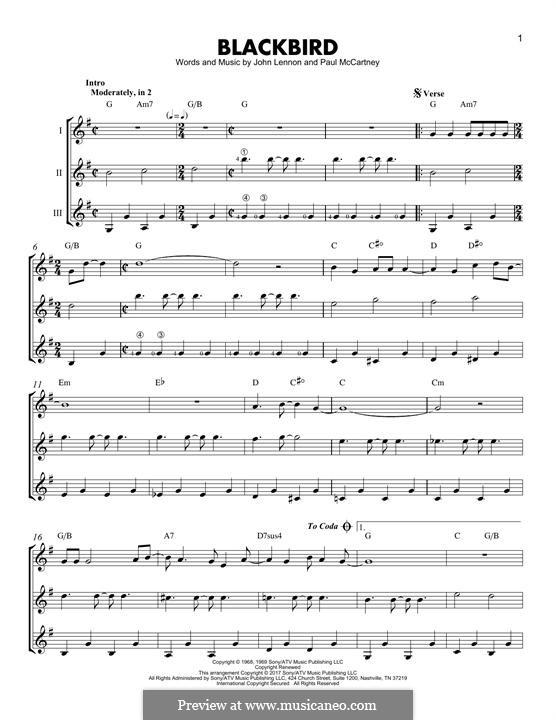 Blackbird (The Beatles): For guitar with tab by John Lennon, Paul McCartney