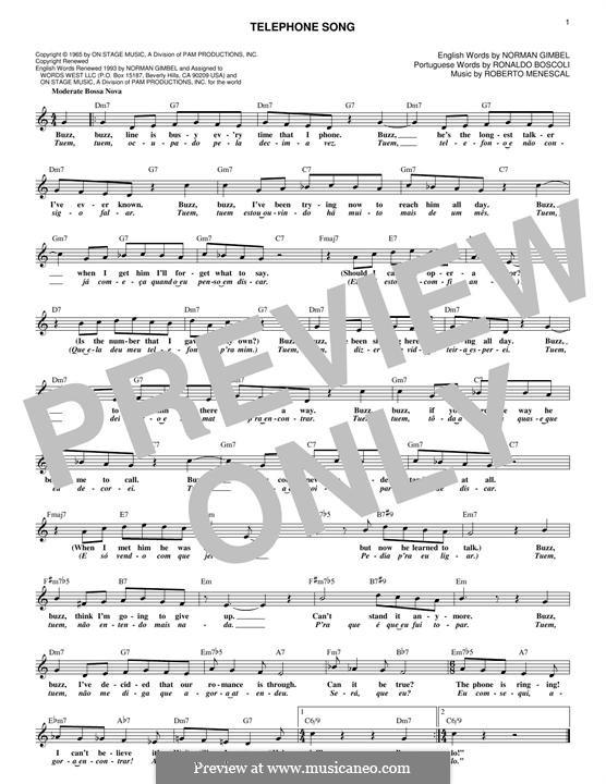 Telephone Song: Melody line by Roberto Menescal, Ronaldo Boscoli