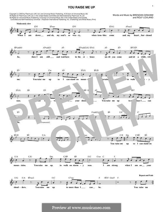 You Raise Me Up: Melody line by Brendan Graham, Rolf Løvland