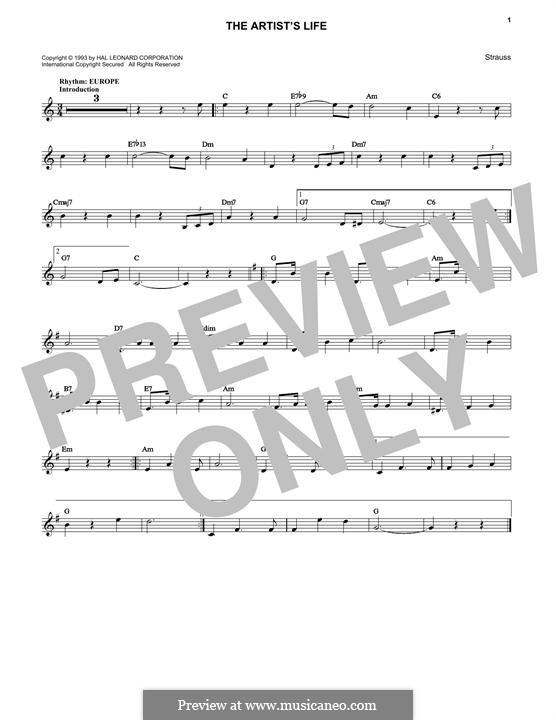 Artist's Life, Op.316: Melody line by Johann Strauss (Sohn)