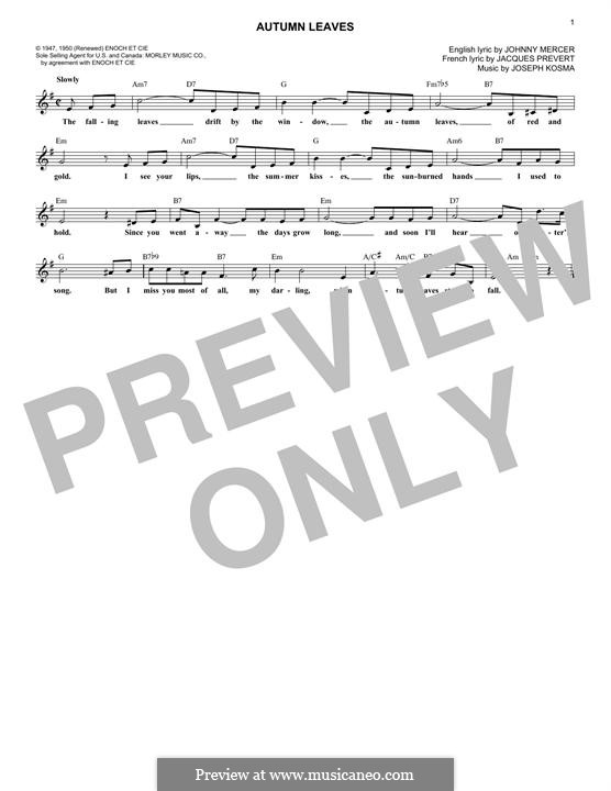 Autumn Leaves (Les Feuilles Mortes): Melody line by Joseph Kosma