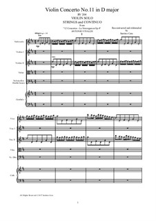 La stravaganza. Twelve Violin Concertos, Op.4: Violin Concerto No.11 in D Major – score, parts, RV 204 by Antonio Vivaldi