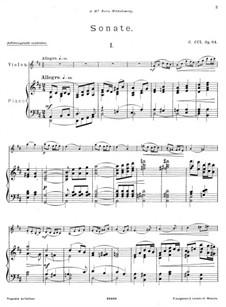 Sonata for Violin and Piano in D Major, Op.84: Movement I by César Cui