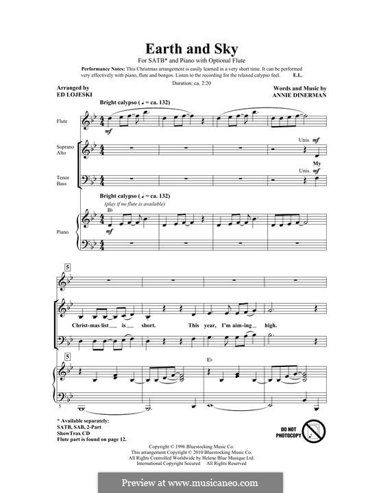 Earth and Sky: For mixed choir by Annie Dinerman