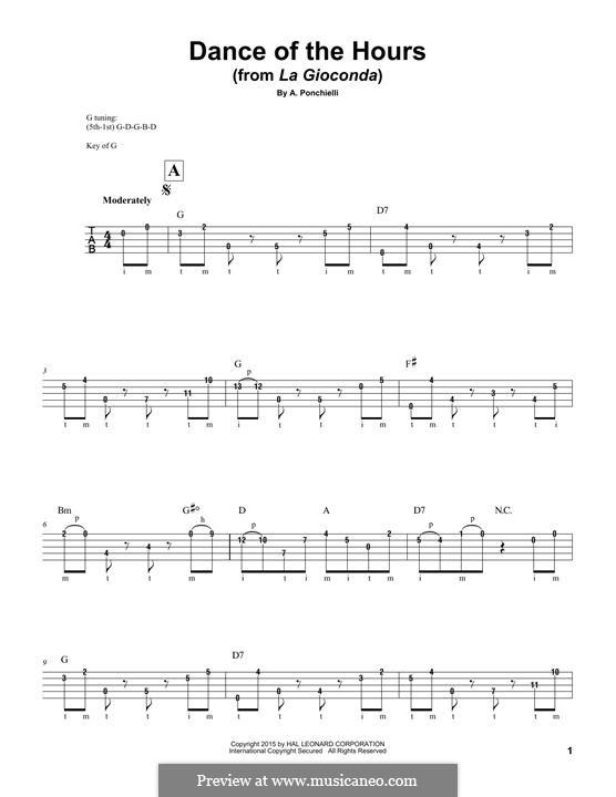 La Gioconda: Dance of the Hours. Arrangement for banjo by Amilcare Ponchielli