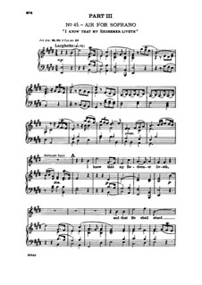 No.45 I Know That My Redeemer Liveth: For voice and piano by Georg Friedrich Händel