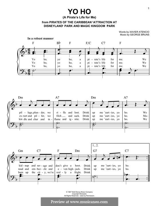Yo Ho (A Pirate's Life for Me): For piano by George Bruns
