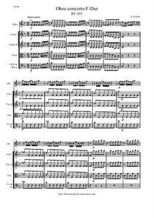 Concerto for Oboe and Strings in F Major, RV 455: Score and parts by Antonio Vivaldi